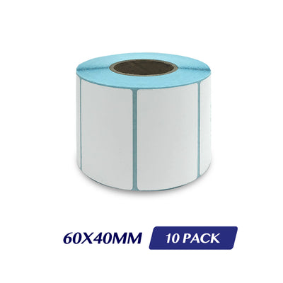 Thermal Direct Label Adhesive Labels Perforated Label Rolls - 60x40mm 800 Labels 10 Pack