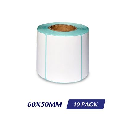 Thermal Direct Label Adhesive Labels Perforated Label Rolls - 60x50mm 500 Labels 10 Pack
