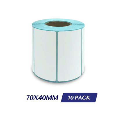 Thermal Direct Label Adhesive Labels Perforated Label Rolls - 70x40mm 800 Labels 10 Pack