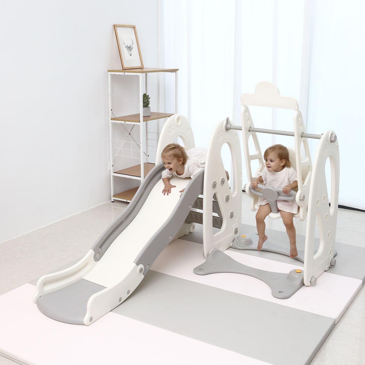 4 in 1 Toddler Slide and Swing Set with Basketball Hoop - White/Grey