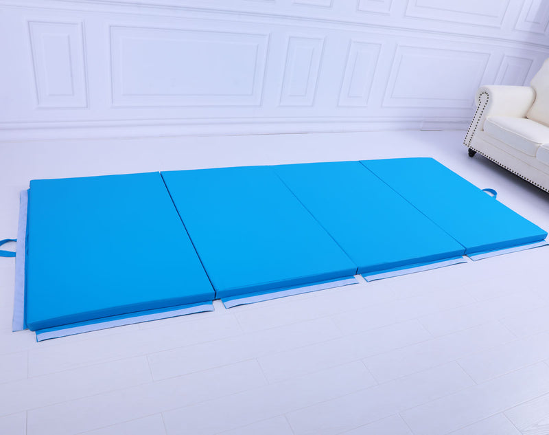 Large 3Mx1.2Mx5cm Folding Tumbling Mat Gymnastics Gym Exercise Mat High Density - Blue
