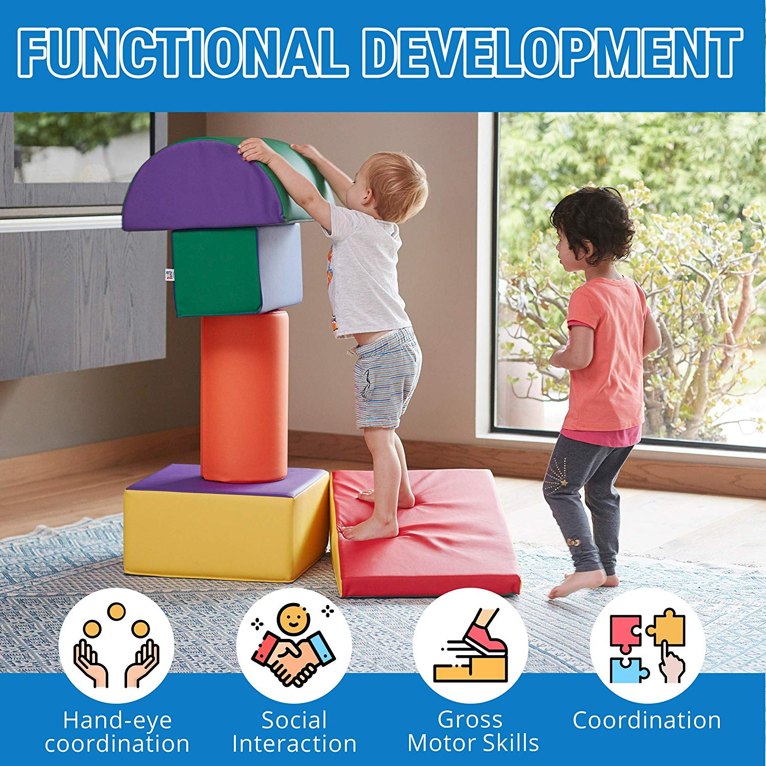 Baby Kids Large Soft Foam Block Indoor Climb Crawl and Slide Safe Foam Playset 5pcs