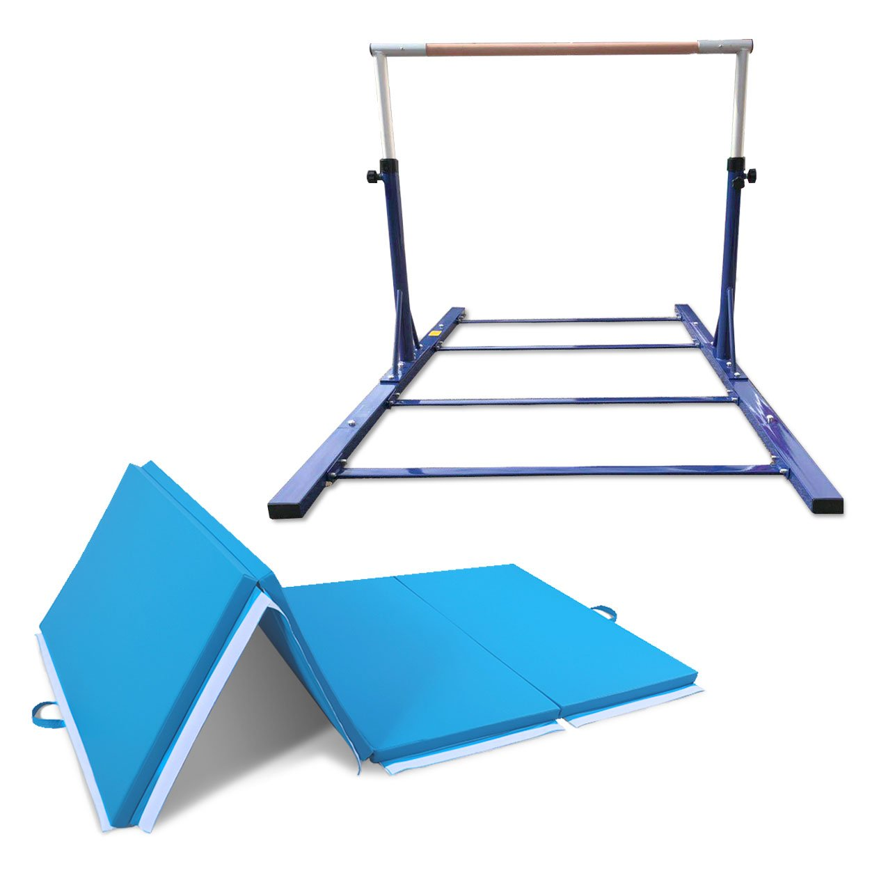 Value Combo Advanced Gymnastic Horizontal Bar Long Base Training Bar + Gym Mat (Blue)