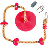 Tree Climbing Rope and Kids Outdoor Swing with Foot Hold Platforms, Disc Tree Swing Seat and Hanging Kit - Red