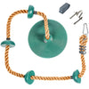 Tree Climbing Rope and Kids Outdoor Swing with Foot Hold Platforms, Disc Tree Swing Seat and Hanging Kit - Green