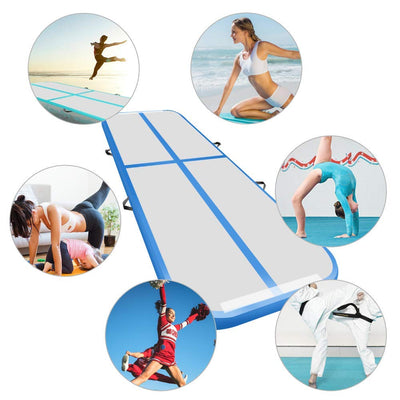 Inflatable Air Track Mat Tumbling Floor Home Gymnastics Mat with Electric Pump - Blue