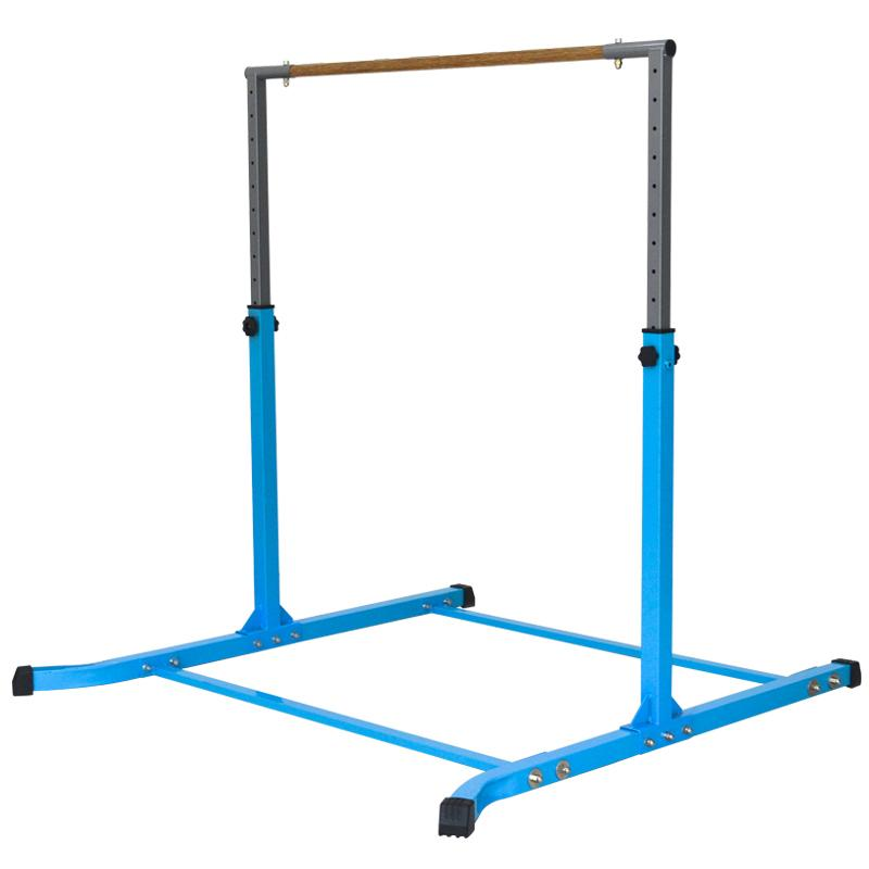 Gymnastic Horizontal Bar Sports Junior Training Bar Adjustable Height Kip Bar - Blue