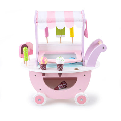 Girls Role Play Toys 14 Pcs Wooden Ice Cream Cart - Includes Ice Cream, Popsicles, Cones, Scoop and Cart