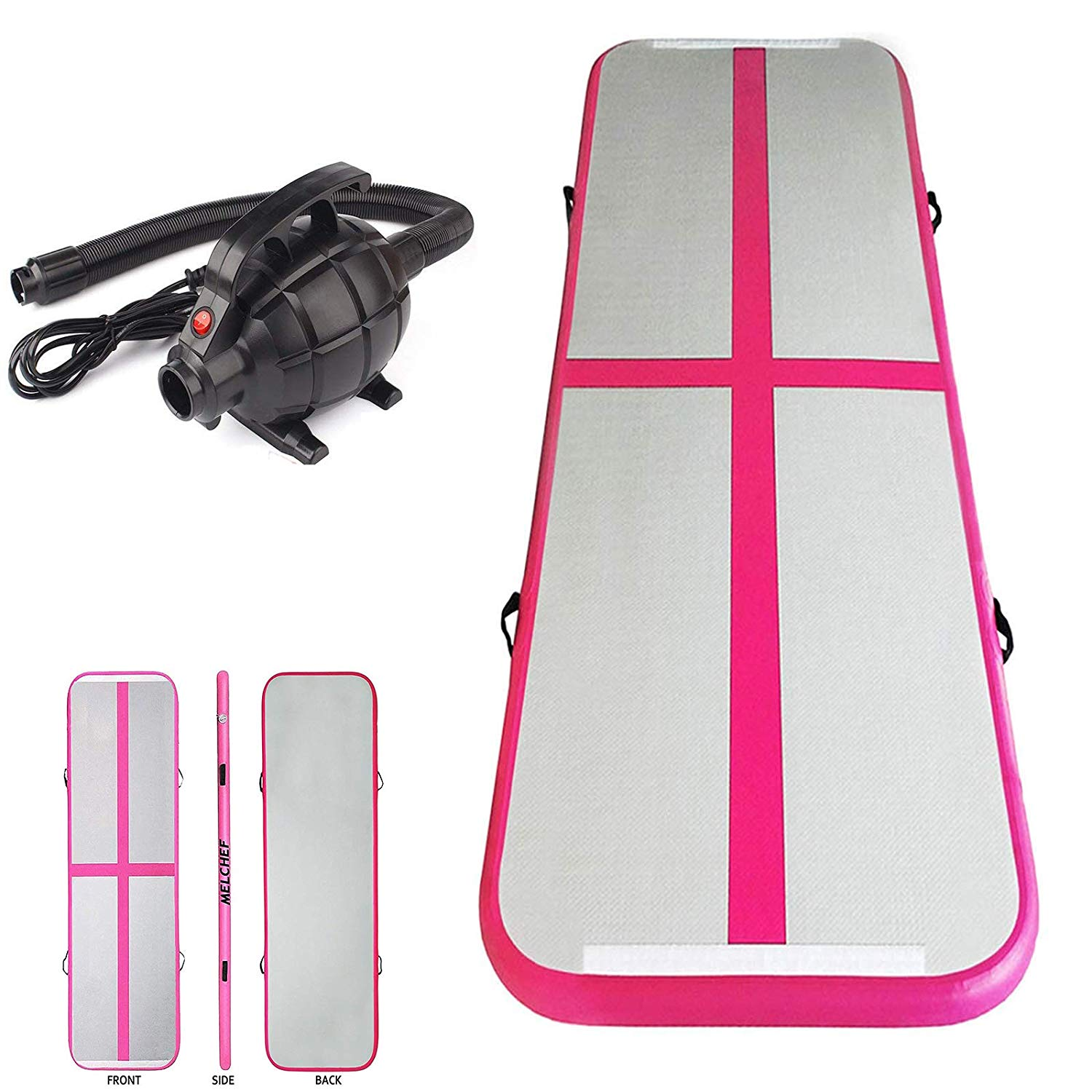 Inflatable Air Track Mat Tumbling Floor Home Gymnastics Mat with Electric Pump - Pink
