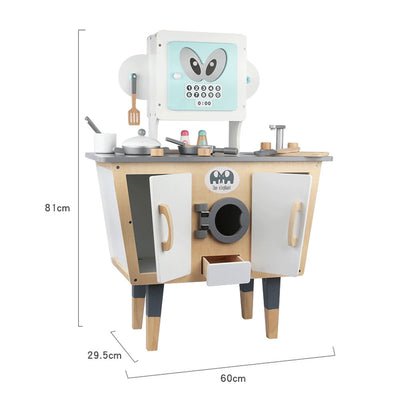 Wooden Pretend Role Play Robot Kitchen Playset for Kids w/ Full Set Cookware