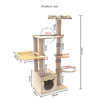 Large Wooden Cat Tree Cat Scratching Post Modern Cat Condo Furniture with Natural Hemp