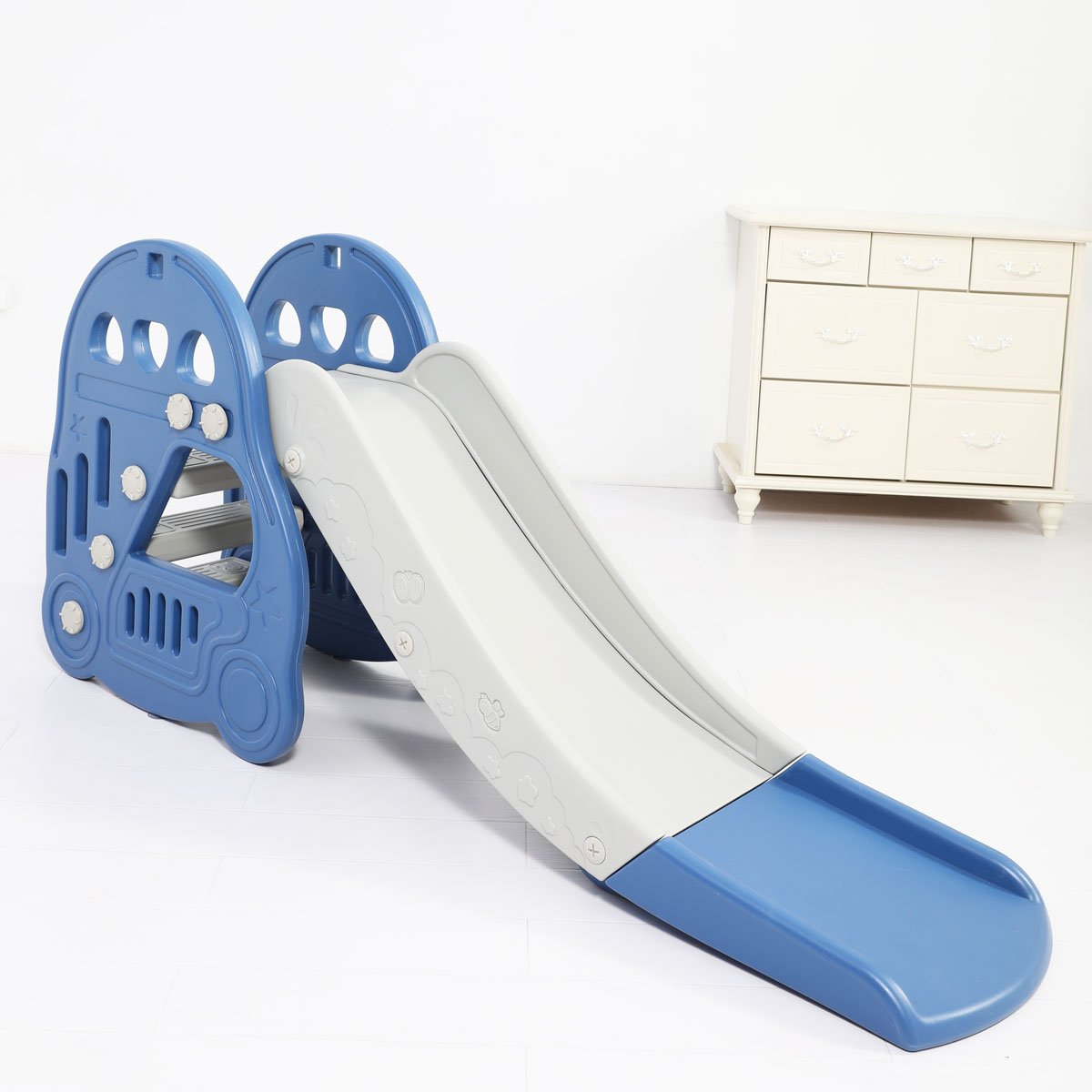 Large Kids Slide Basketball Hoop Indoor Play Slide Set Home Playground