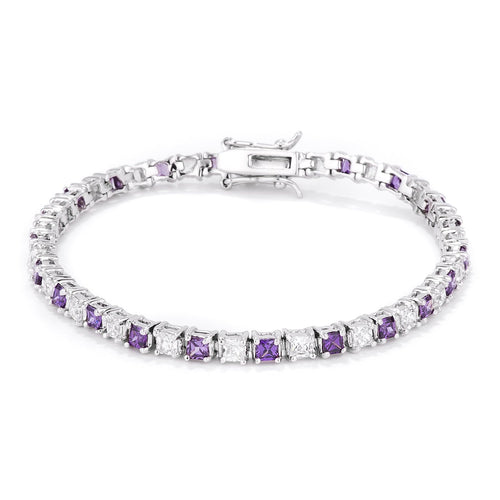 Alternating Amethyst and Clear Tennis Bracelet