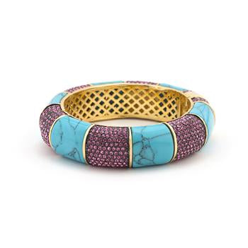 Simulated Turquoise and Fuchsia Bangle Bracelet