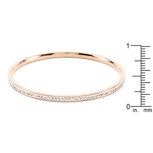 Simple Rose Gold Finish Crystal Bangle