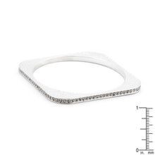 Load image into Gallery viewer, Hammered Cubic Zirconia Square Bangle