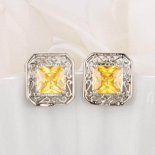 Antique Princess Cut Yellow CZ Earrings