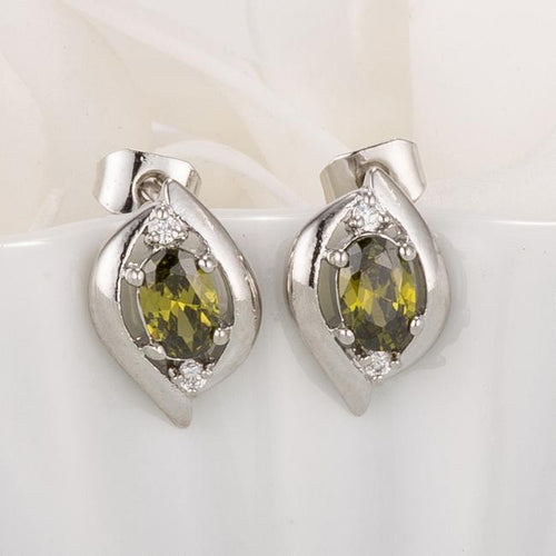 Antique Green Oval CZ Earrings