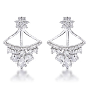 2Ct Rhodium Plated CZ Floral Stud Chandelier Illusion Ear Jacket