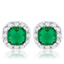 Load image into Gallery viewer, Liz 2ct Emerald CZ Rhodium Classic Cushion Stud Earrings