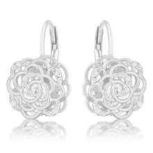 Load image into Gallery viewer, Maya 1.5ct CZ Rhodium Rose Drop Earrings