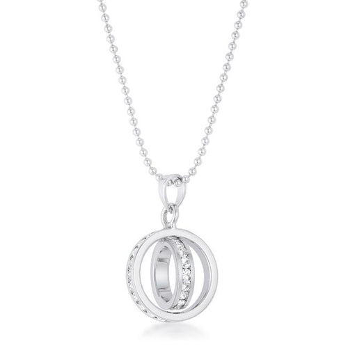 Tera 0.65ct CZ Rhodium Double Ring Drop Necklace
