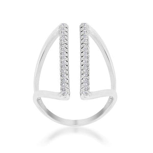 Jena 0.2ct CZ Rhodium Delicate Parallel Ring