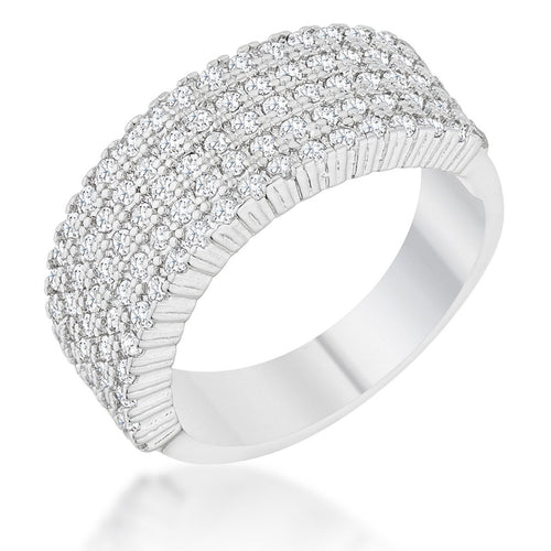 Gwen 1ct CZ Rhodium Wide Ring