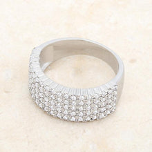 Load image into Gallery viewer, Gwen 1ct CZ Rhodium Wide Ring