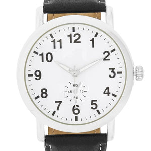 Silver Classic Watch With Black Leather Strap