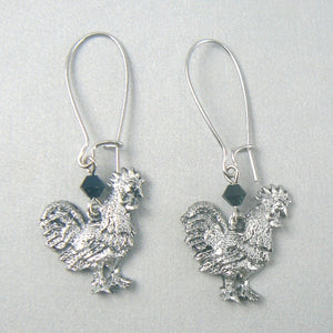 Barnyard Rooster Pewter Earrings