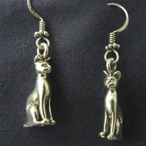 Bast Cat Sterling Silver Earrings