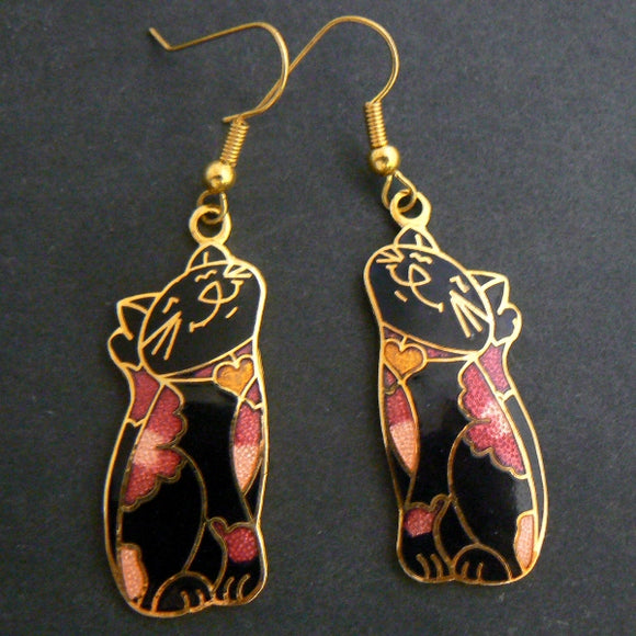 Black Cat Floral Cloisonné Earrings