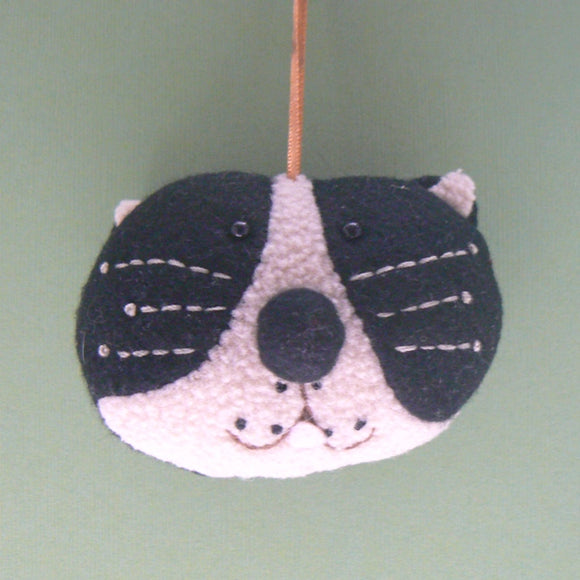 Black & White Cat Head Ornament