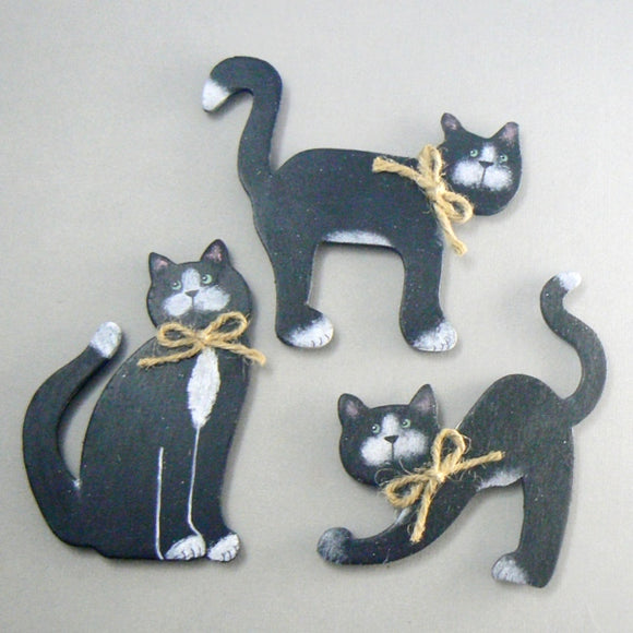 Black & White Cat Wood Magnets