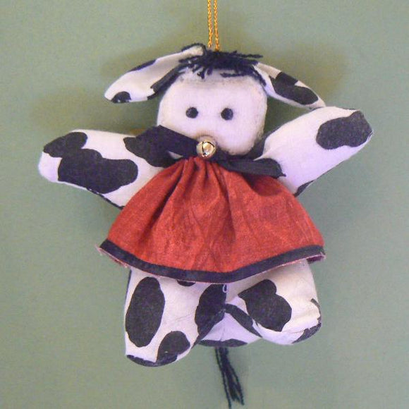 Black & White Cow Fabric Ornament