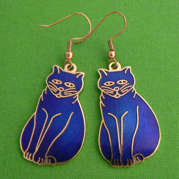Cloisonne Ename Cat Earrings - Blue