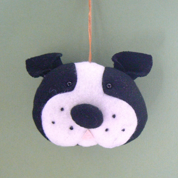 Boston Terrier Dog Head Christmas Ornament