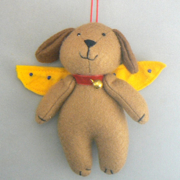 Brown Dog Angel Felt Ornament