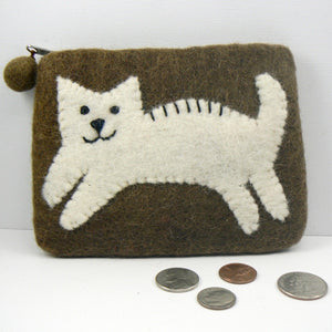 Brown Felt Coin Purse with Cream Kitty Cat