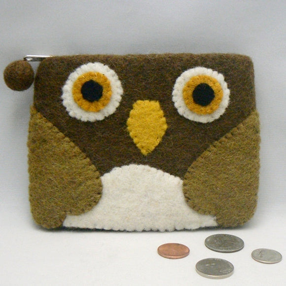 Brown Felt Owl Coin Purse