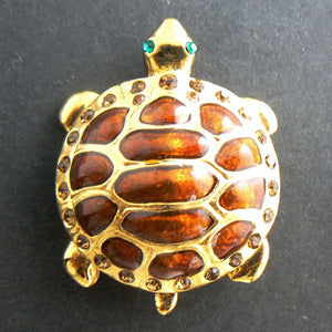 Brown and Gold Turtle Enamel Pin