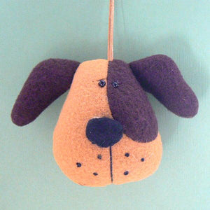 Brown & Tan Dog Head Ornament