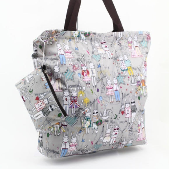 Bunny Rabbit Couple Foldable Zipper Tote Bag