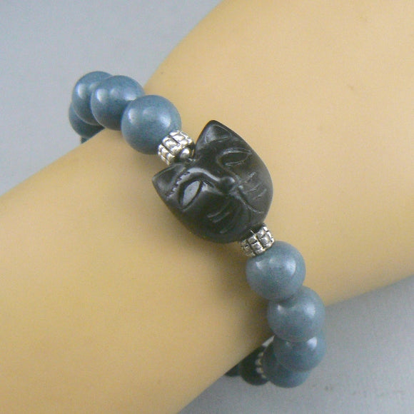 Carved Blackstone Cat Head Bracelet - Blue_w