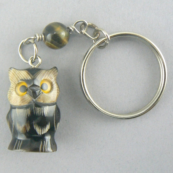 Carved Horn Owl Key Chain
