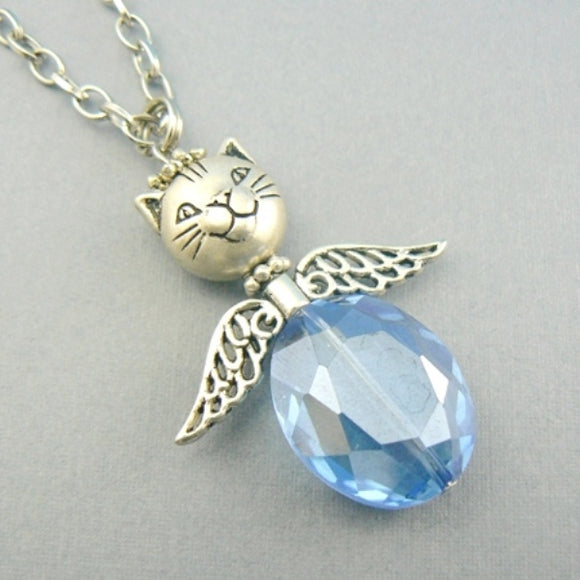 Cat Angel Beaded Necklace - Blue