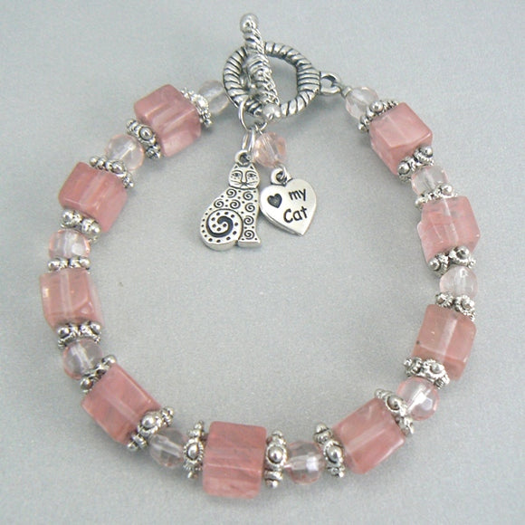 Cat Heart Charm Bracelet with Cherry Quartz Beads