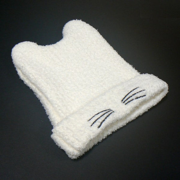 Copy of Cat Ears Knit Beanie Hat - Cream