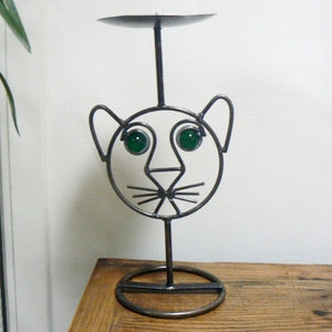 Cat Face Wrought Iron Candle Holder